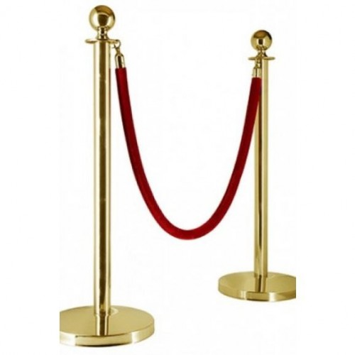 Silver effect Bollards and black vip rope